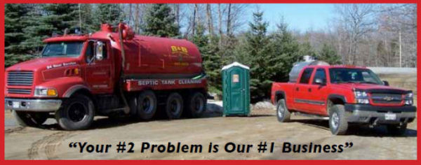 B&B Septic Tank Service trucks and portable toilet